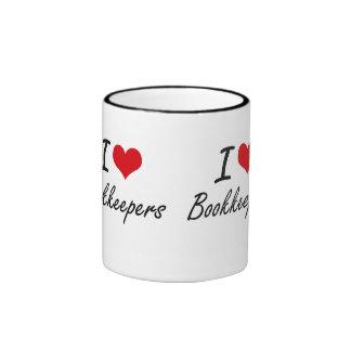 I Love Bookkeepers Artistic Design Ringer Coffee Mug