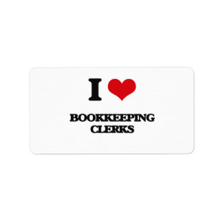 I love Bookkeeping Clerks Personalized Address Labels