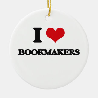I Love Bookmakers Double-Sided Ceramic Round Christmas Ornament