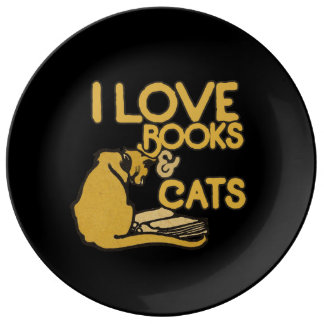 I love books and cats plate