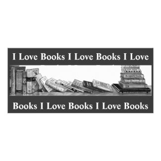 I LOVE BOOKS: BOOKMARK: PENCIL ART RACK CARD