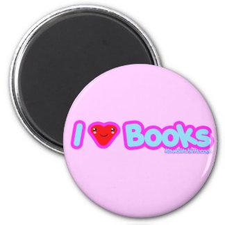 I love Books cute Kawaii t-shirts & more 2 Inch Round Magnet