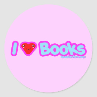 I love Books cute Kawaii t-shirts & more Classic Round Sticker