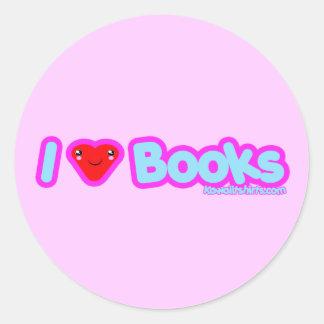 I love Books cute Kawaii t-shirts & more Classic Round Sticker