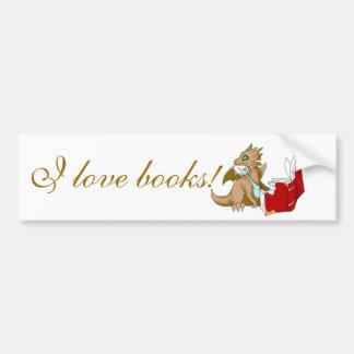 """I Love Books"" Dragon Bumper Sticker Car Bumper Sticker"