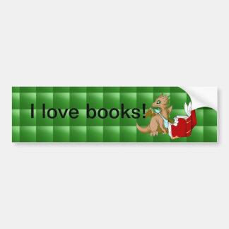 """I Love Books"" Dragon Bumper Sticker Green Quilt Car Bumper Sticker"