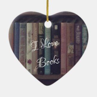 I LOVE BOOKS HEART ORNAMENT