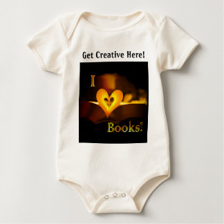 I Love Books - I 'Heart' Books (Candlelight) Baby Bodysuit