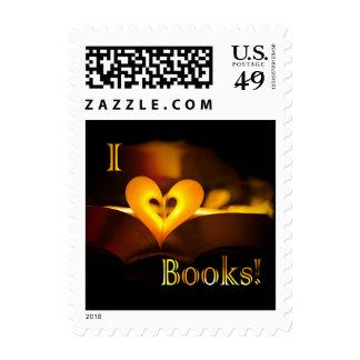 I Love Books - I 'Heart' Books (Candlelight) Postage Stamp