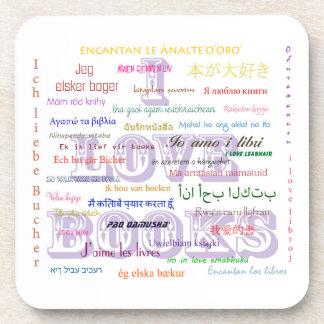 I Love Books in 40 Languages Beverage Coaster