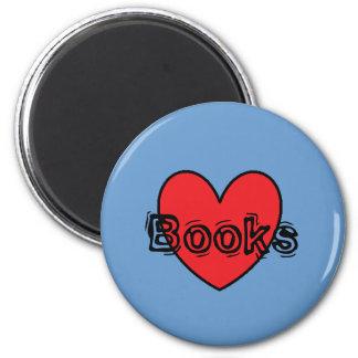 I Love Books round magnet