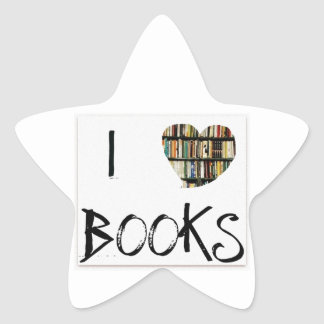 I Love Books Star Sticker