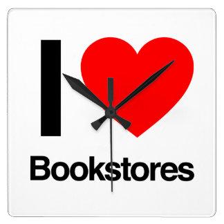 i love bookstores square wallclocks