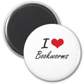 I Love Bookworms Artistic Design 2 Inch Round Magnet