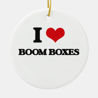 I Love Boom Boxes Double-Sided Ceramic Round Christmas Ornament