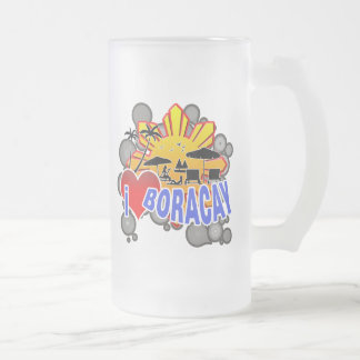 I Love Boracay Frosted Glass Beer Mug