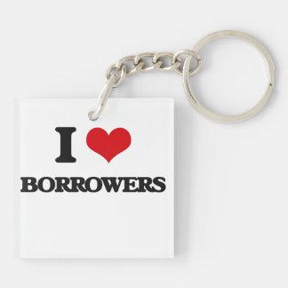 I Love Borrowers Double-Sided Square Acrylic Keychain