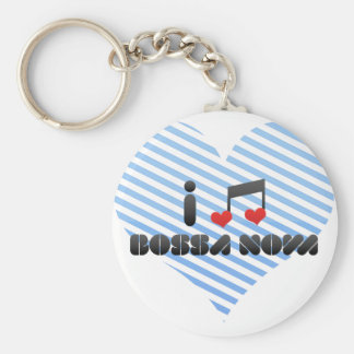 I Love Bossa Nova Basic Round Button Keychain
