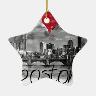 I love Boston Ceramic Ornament
