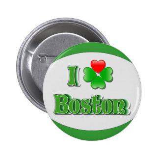 i Love Boston - Clover 2 Inch Round Button