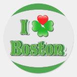 i Love Boston - Clover Classic Round Sticker