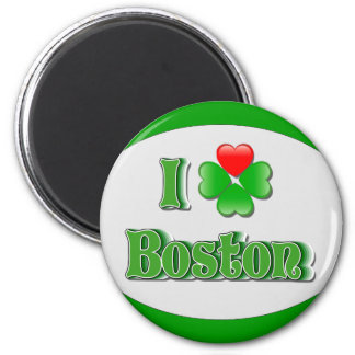 i Love Boston - Clover 2 Inch Round Magnet