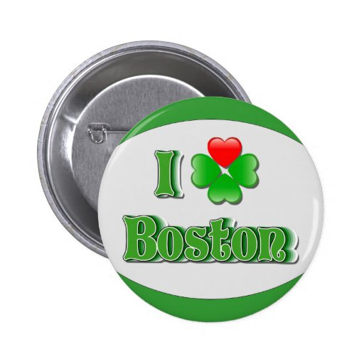 i Love Boston - Clover Pinback Buttons