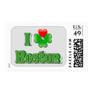 I Love Boston - Clover Postage Stamps