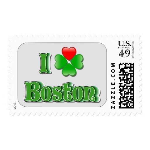 I Love Boston - Clover Postage Stamps