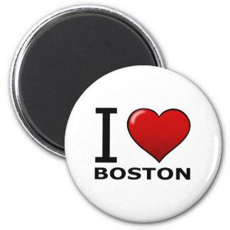 I LOVE BOSTON,MA - MASSACHUSETTS 2 INCH ROUND MAGNET