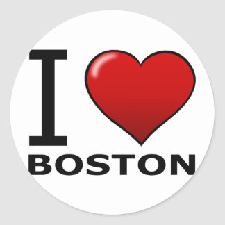 I LOVE BOSTON,MA - MASSACHUSETTS CLASSIC ROUND STICKER