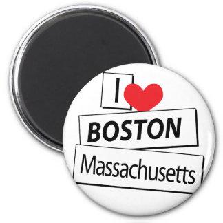 I Love Boston Massachusetts 2 Inch Round Magnet