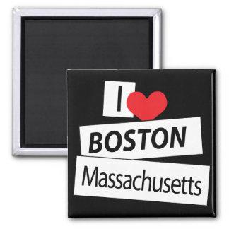 I Love Boston Massachusetts 2 Inch Square Magnet