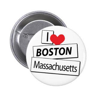 I Love Boston Massachusetts Button