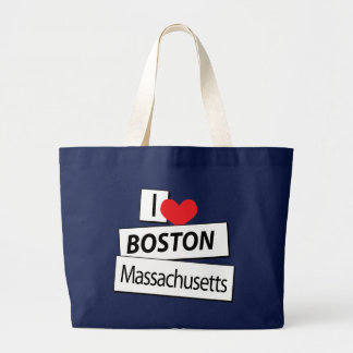 I Love Boston Massachusetts Large Tote Bag