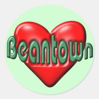 I Love Boston Round Sticker