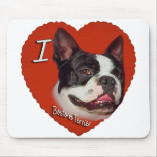 I Love boston Terrier Mouse Pad