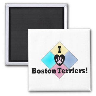 I Love Boston Terriers 2 Inch Square Magnet