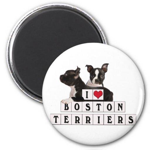 I LOVE BOSTON TERRIERS BLOCKS MAGNET
