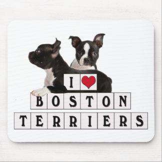 I LOVE BOSTON TERRIERS BLOCKS MOUSE PAD