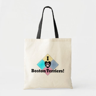 I Love Boston Terriers Budget Tote Bag