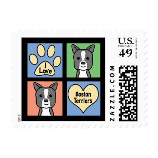 I Love Boston Terriers Postage Stamp