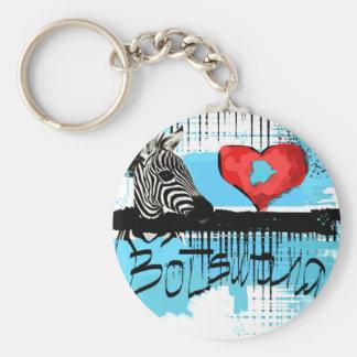I love Botswana Basic Round Button Keychain