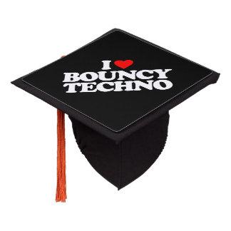 I LOVE BOUNCY TECHNO GRADUATION CAP TOPPER