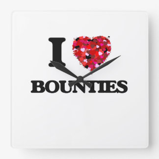 I Love Bounties Square Wallclocks