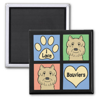 I Love Bouviers 2 Inch Square Magnet