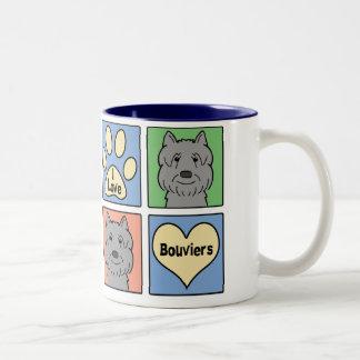 I Love Bouviers Two-Tone Coffee Mug