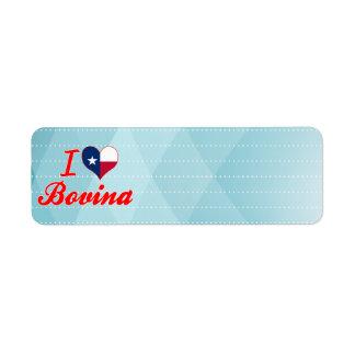 I Love Bovina, Texas Return Address Label