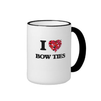 I Love Bow Ties Ringer Coffee Mug