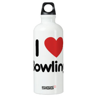 I Love Bowling Aluminum Water Bottle